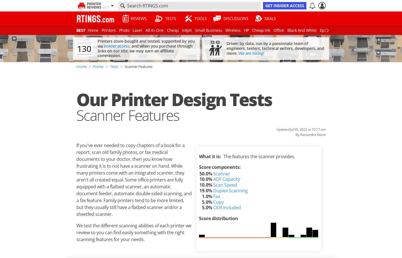 Our Scanner Score and Tests: Printers