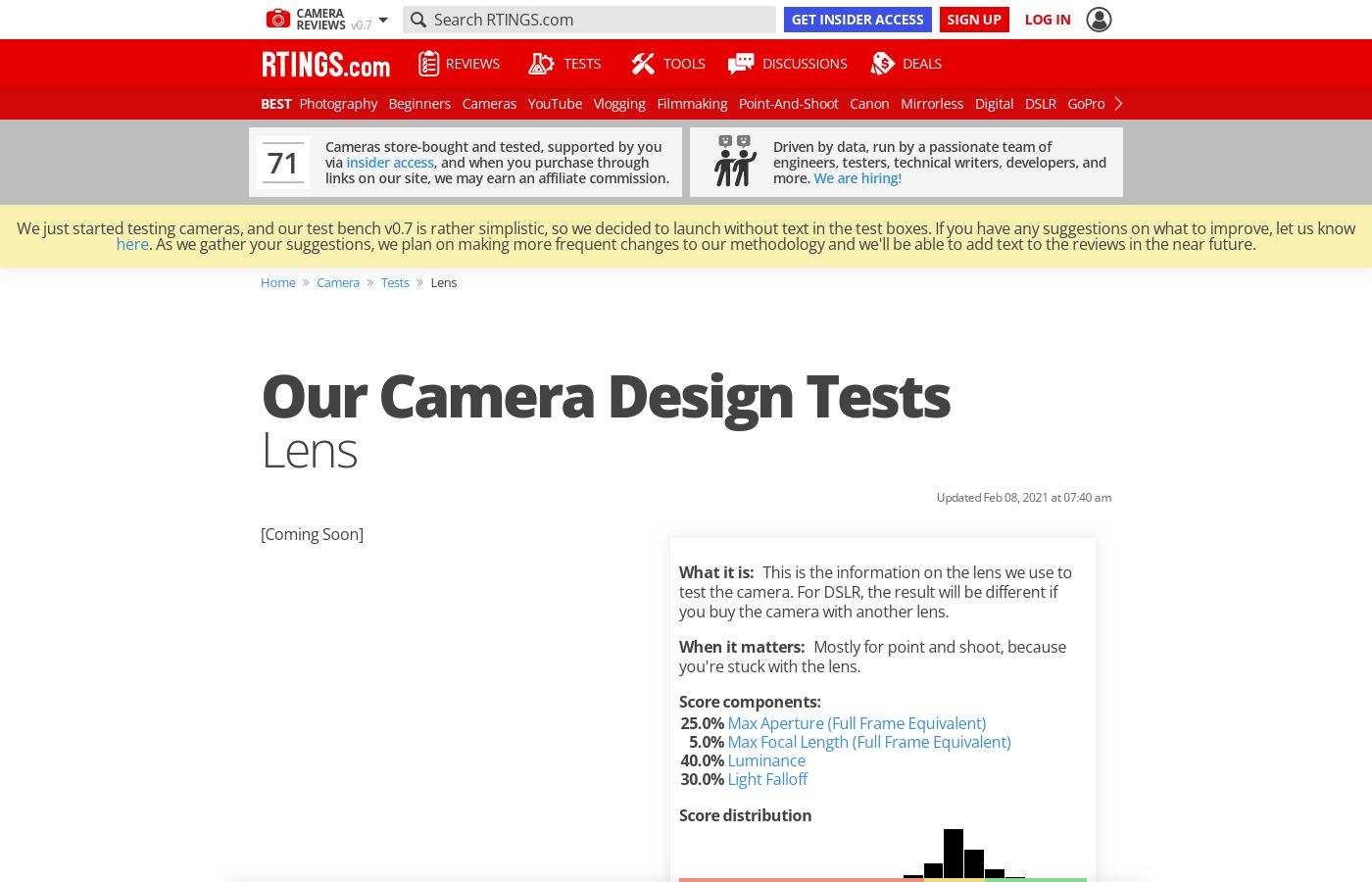 Our Camera Design Tests: Lens