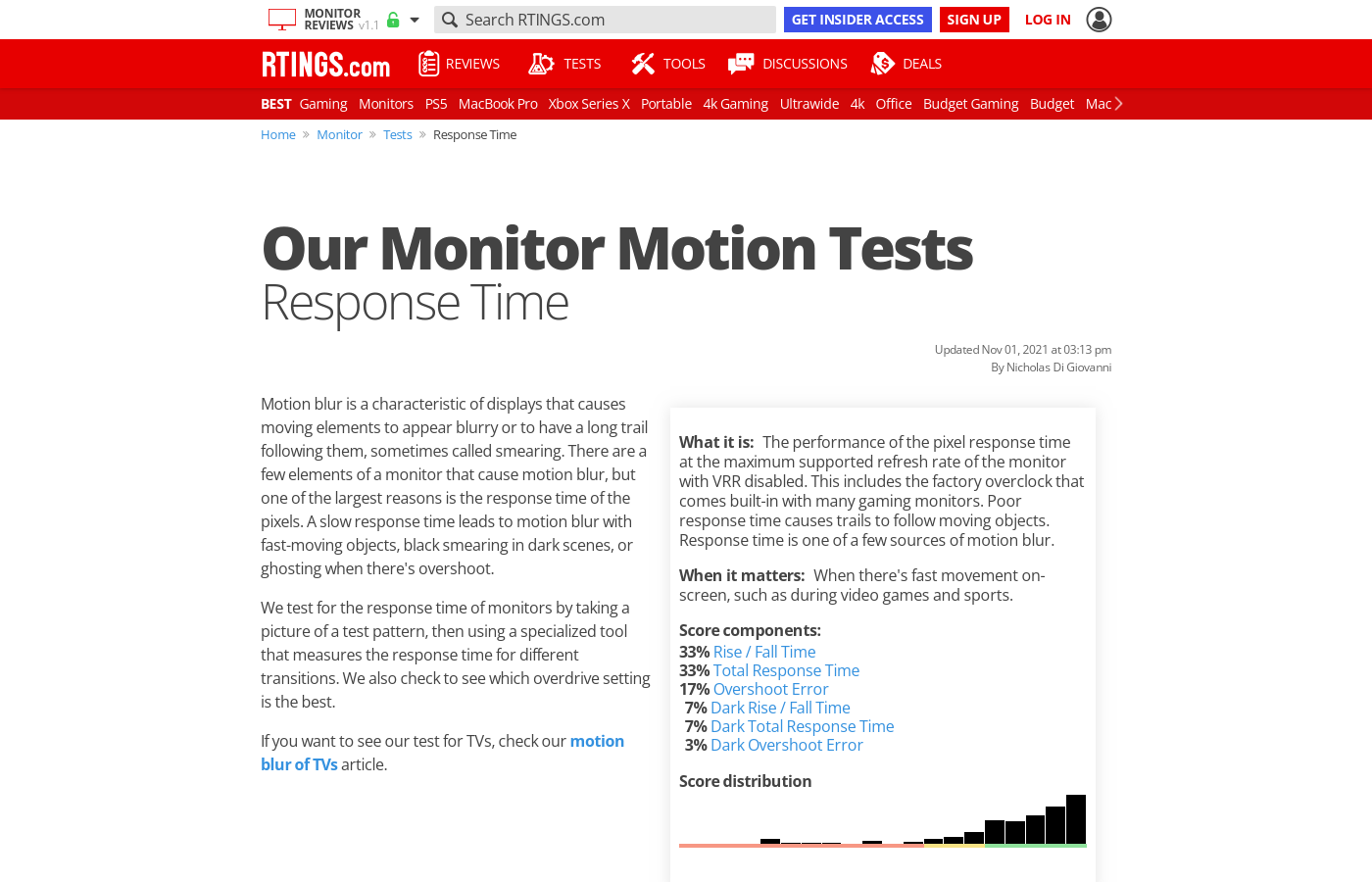 monitor response time test