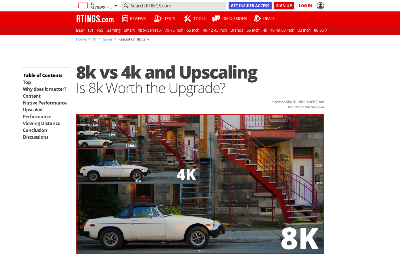 8k vs 4k and Upscaling: Is 8k Worth the Upgrade? - RTINGS com