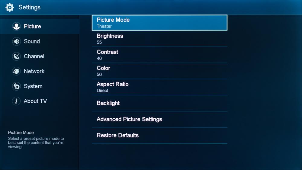 Sharp N7000U Calibration Settings 1
