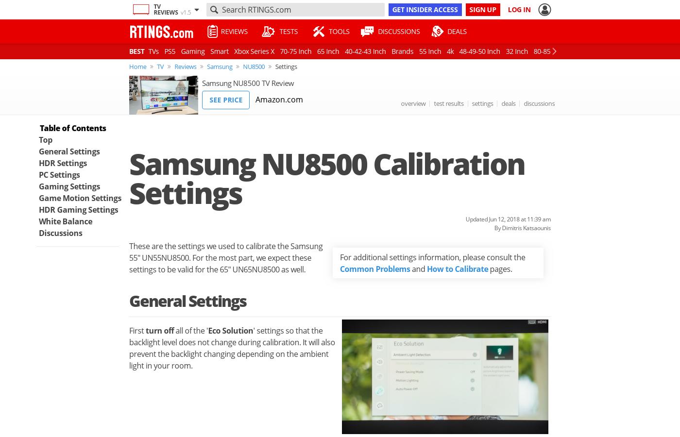 Samsung NU8500 Calibration Settings - RTINGS com