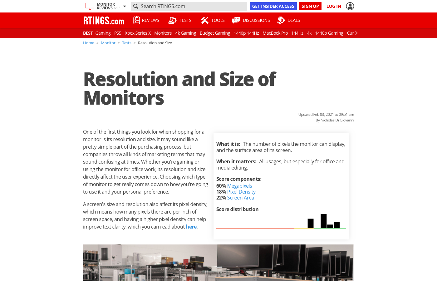 Resolution and Size of Monitors