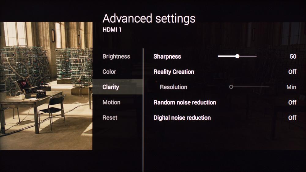 Sony W850C Calibration Settings 3