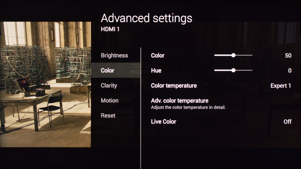 Sony W850C Calibration Settings 5