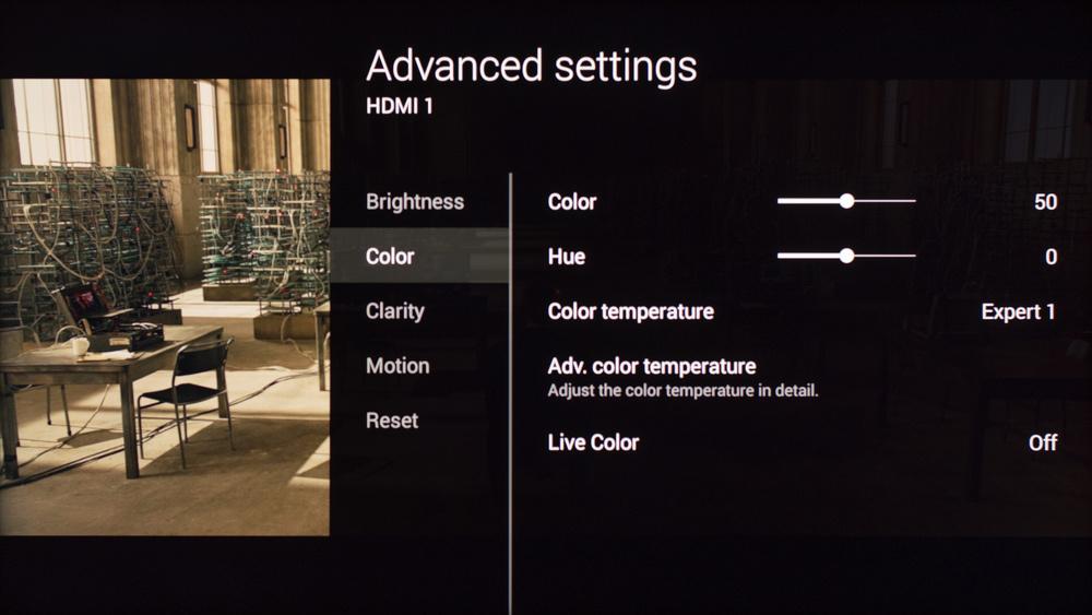 Sony W850C Calibration Settings 5