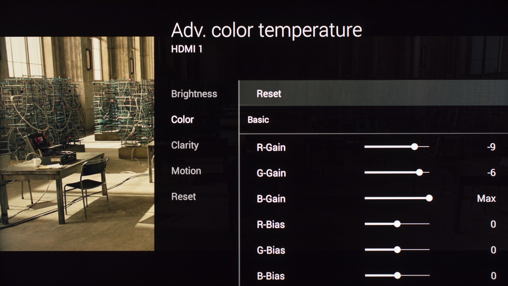 Sony W850C Calibration Settings 9