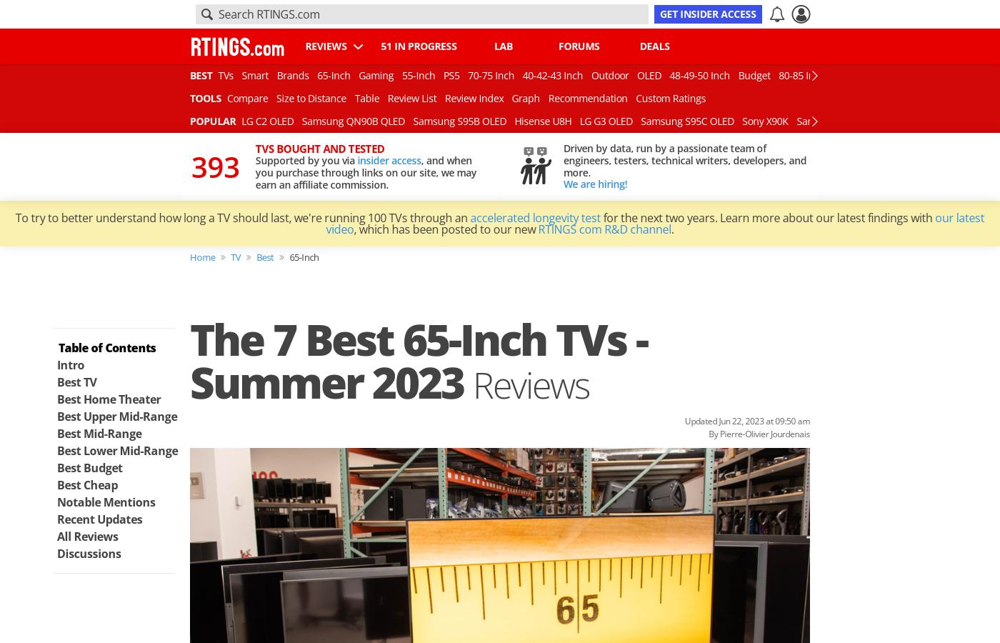 Best 65 inch TVs - Spring 2017: Reviews
