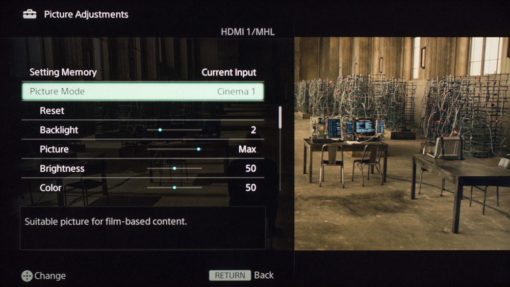 Sony W630B Calibration Settings 1