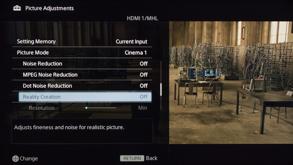 Sony W630B Calibration Settings 3