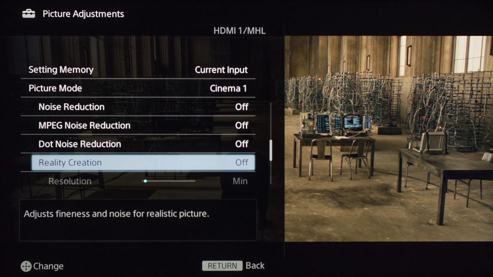 Sony W630B Calibration Settings 3