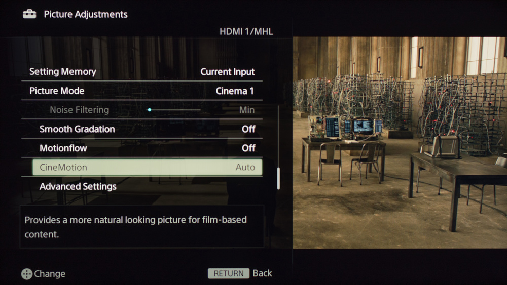 Sony W630B Calibration Settings 4