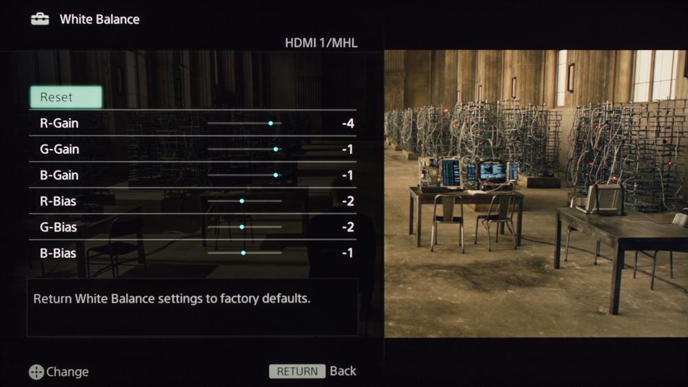 Sony W630B Calibration Settings 7