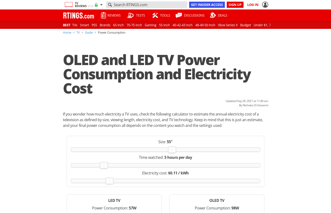 OLED and LED TV Power Consumption and Electricity Cost