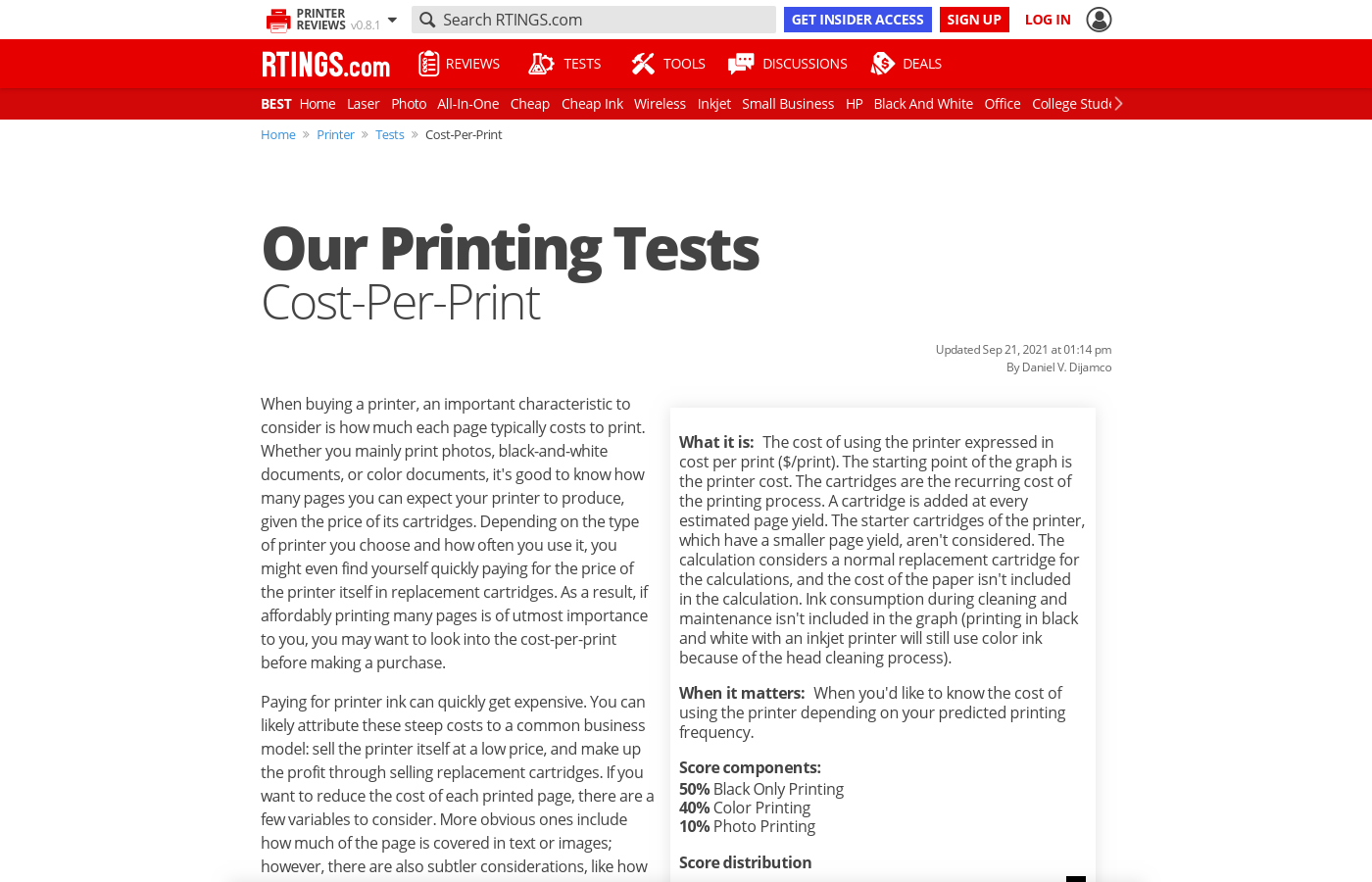 Our Tests: Cost-Per-Print
