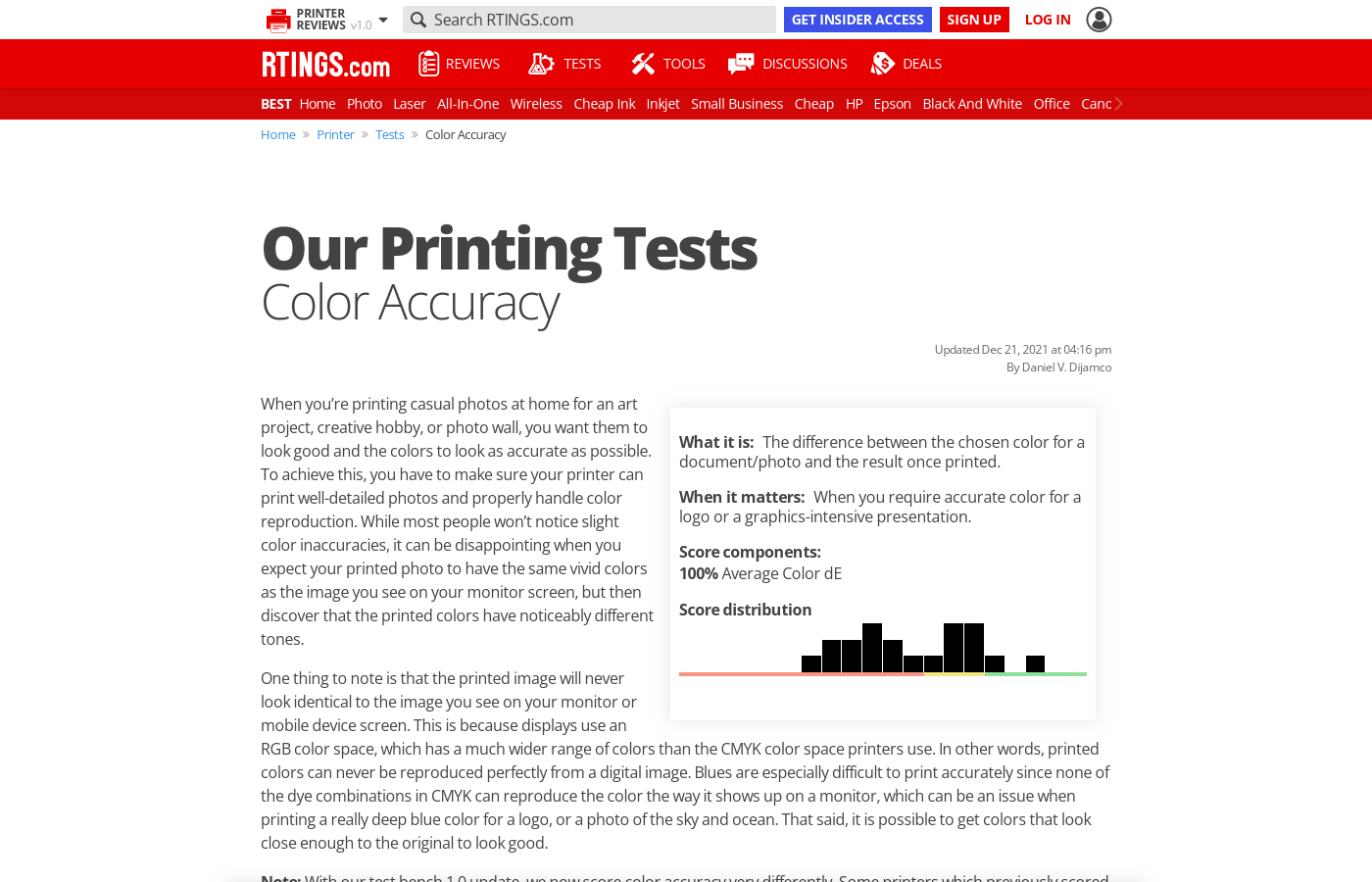 Our Tests: Color Accuracy