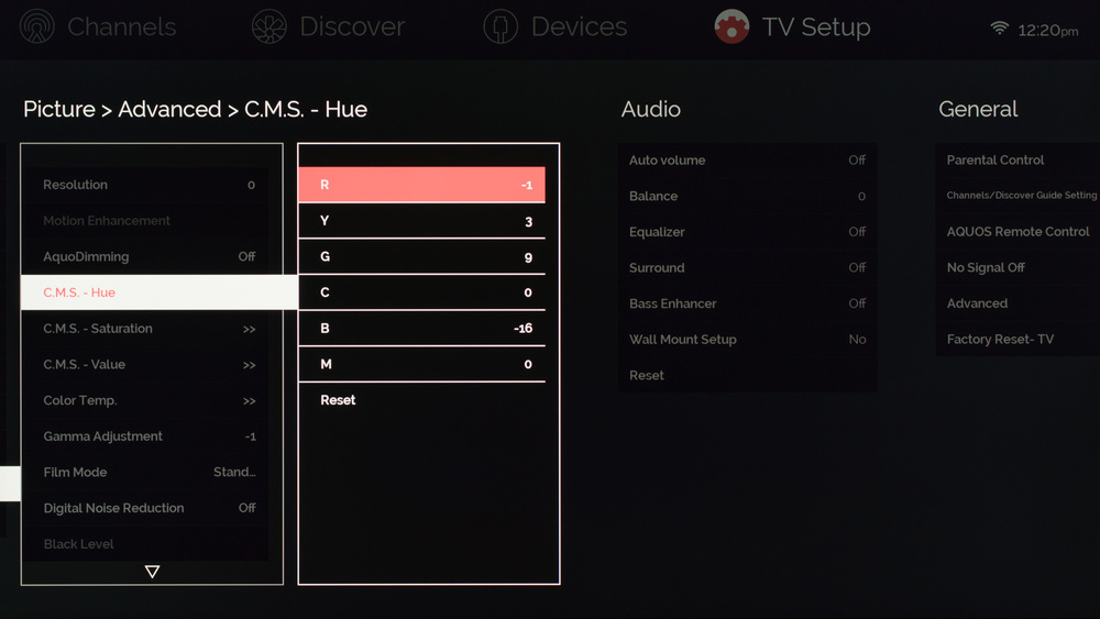 Sharp UH30U Calibration Settings 4
