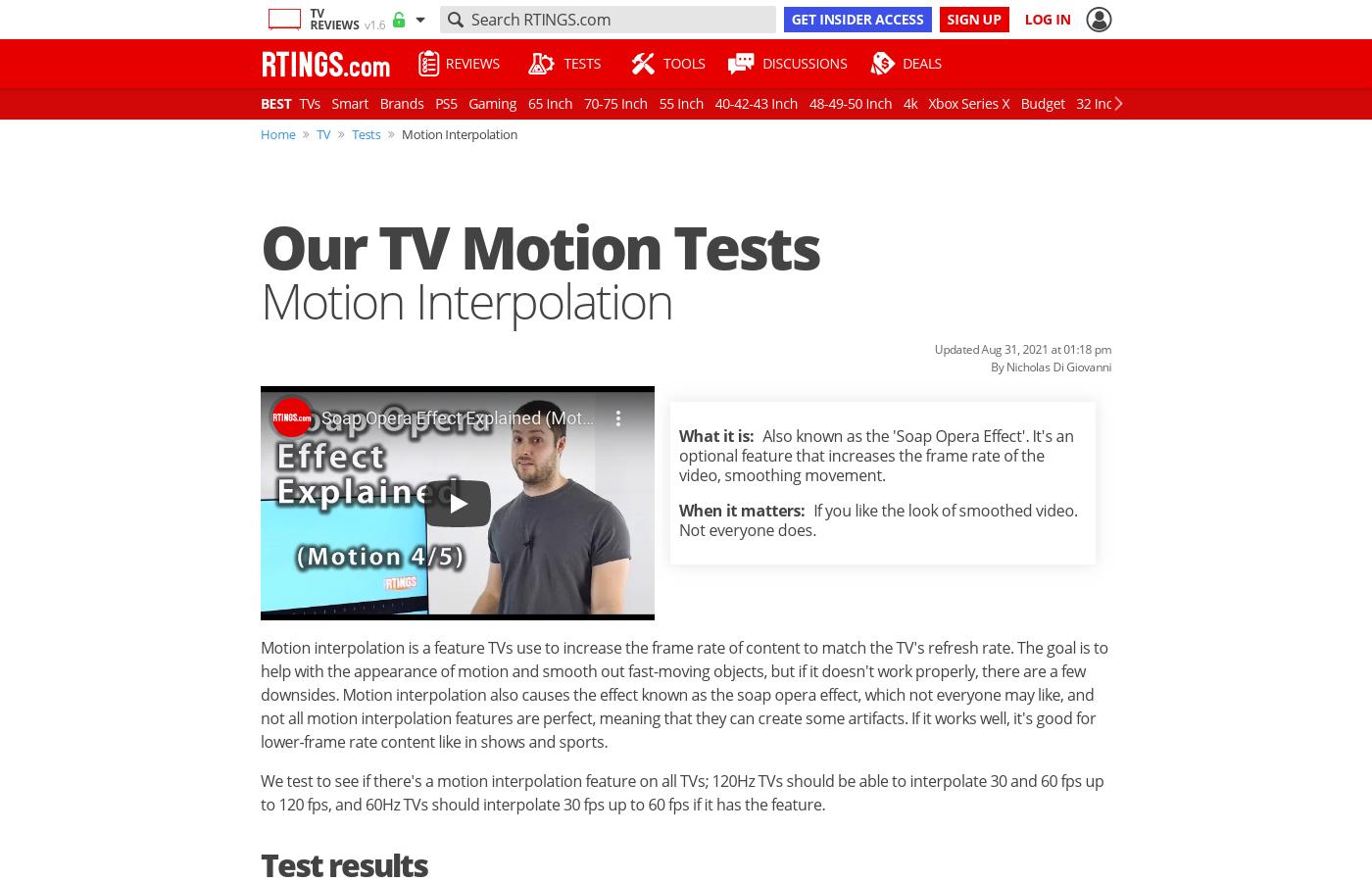 motion interpolation on tvs soap opera effect rtings com