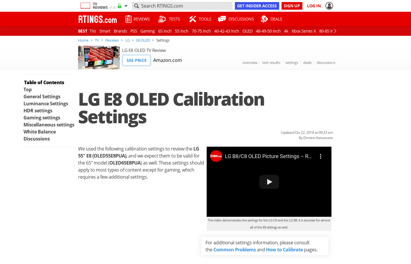 LG E8 OLED Calibration Settings - RTINGS com