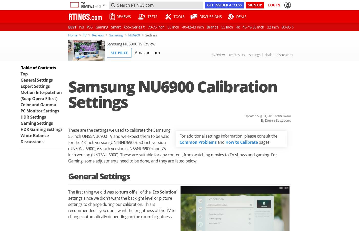 Samsung NU6900 Calibration Settings - RTINGS com