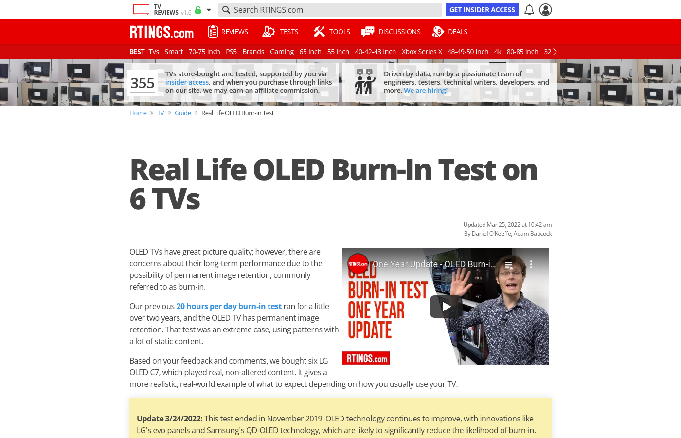 Real Life OLED Burn-In Test on 6 TVs - RTINGS com