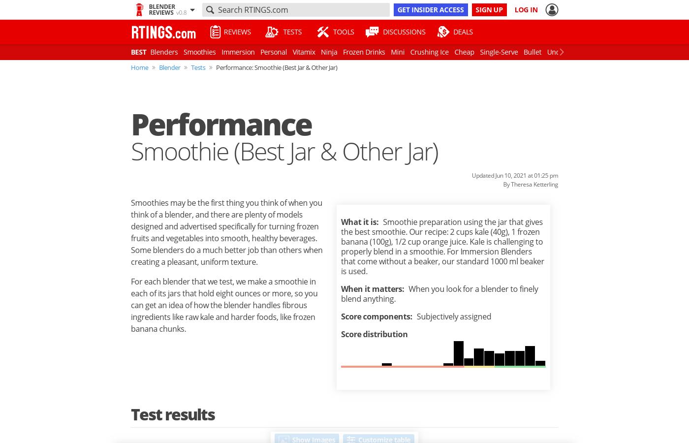 Performance: Smoothie (Best Jar & Other Jar)