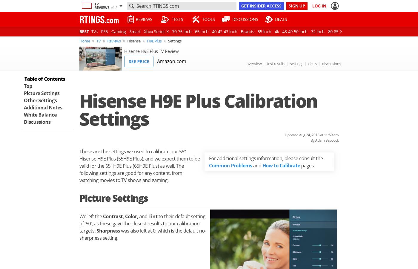 Hisense H9E Plus Calibration Settings - RTINGS com