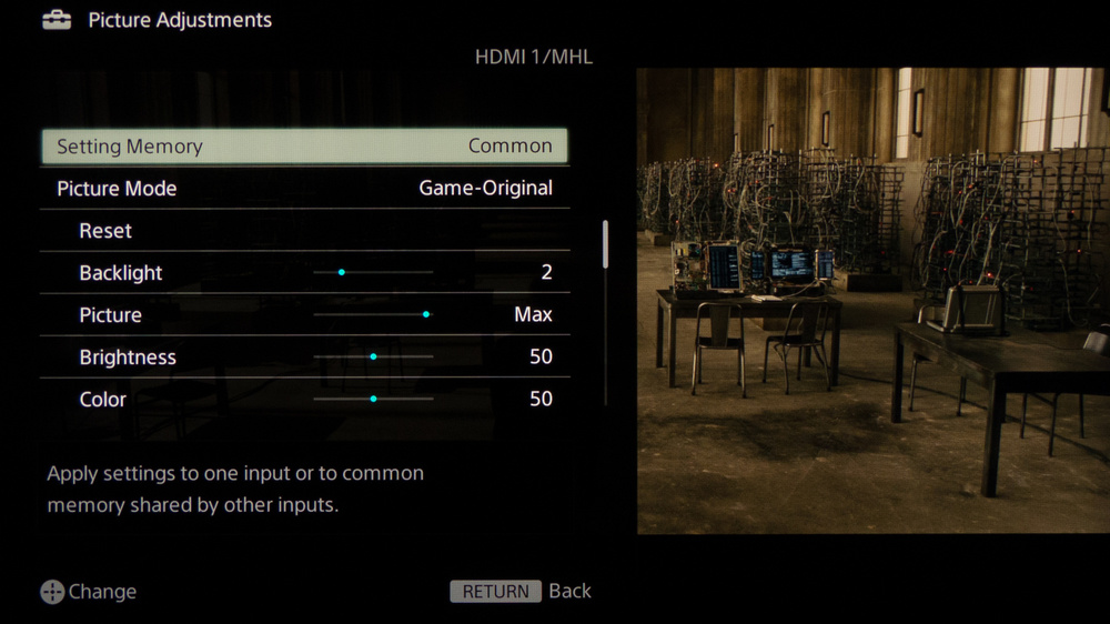 Sony W800B Calibration Settings 2