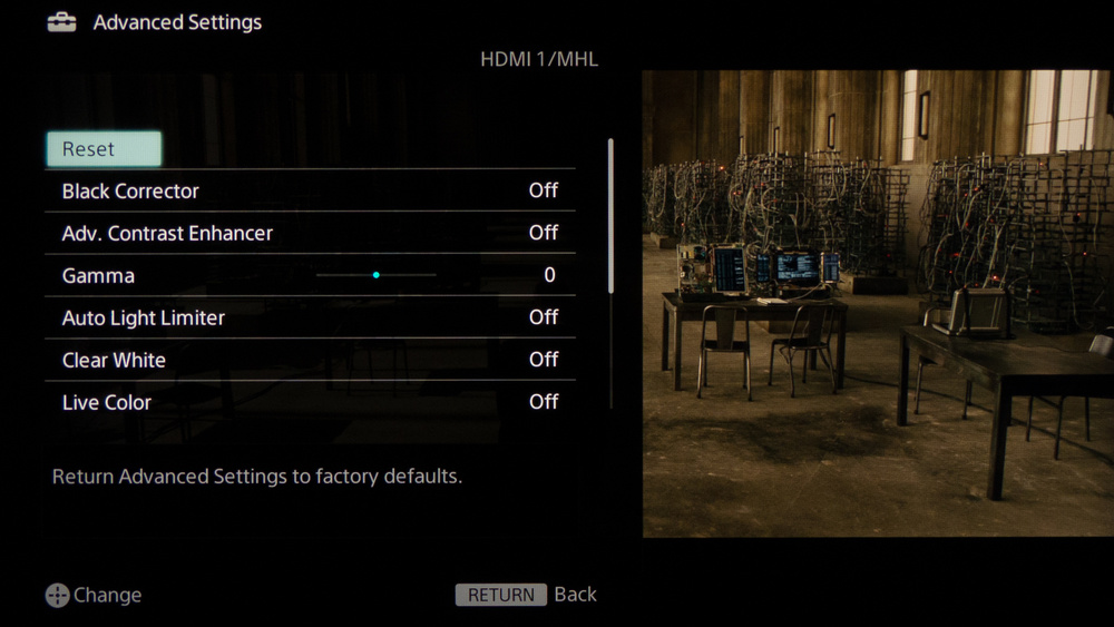 Sony W800B Calibration Settings 5