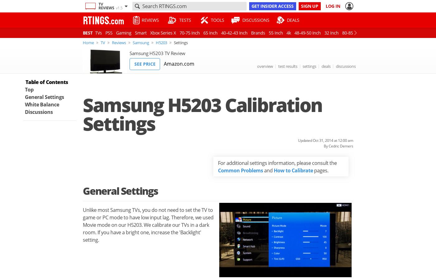 Samsung H5203 LED TV Calibration Settings - RTINGS com