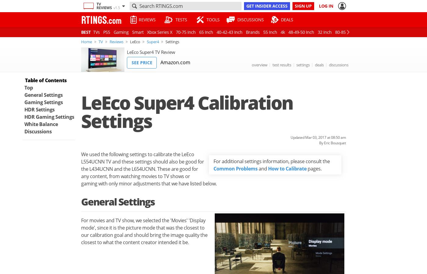 LeEco Super4 LCD TV Calibration Settings - RTINGS com