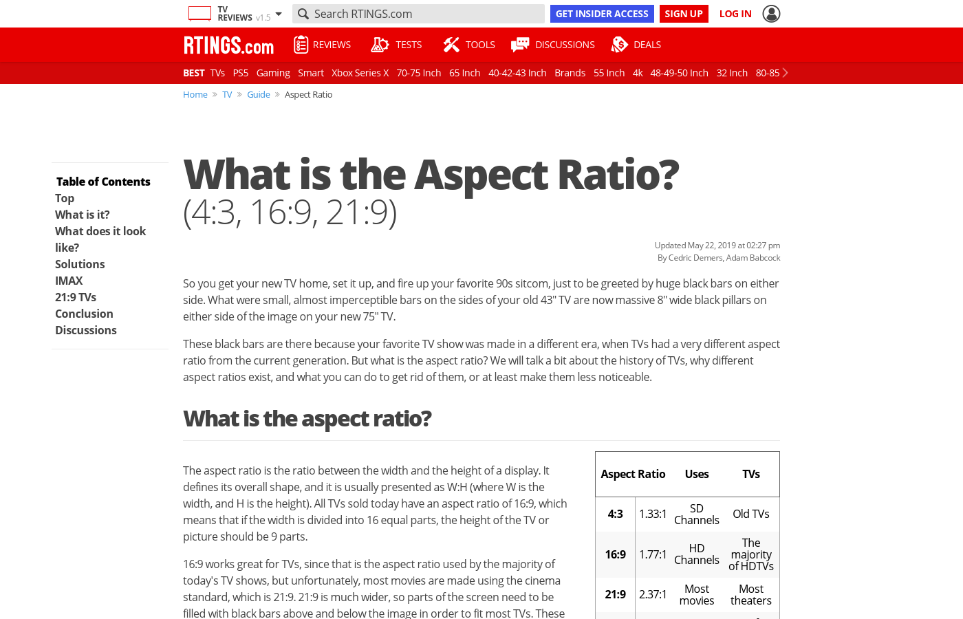 What is the Aspect Ratio? (4:3, 16:9, 21:9) - RTINGS com