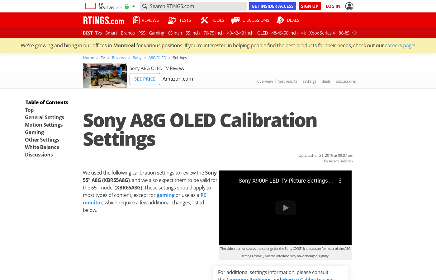 Sony A8G OLED Calibration Settings - RTINGS com