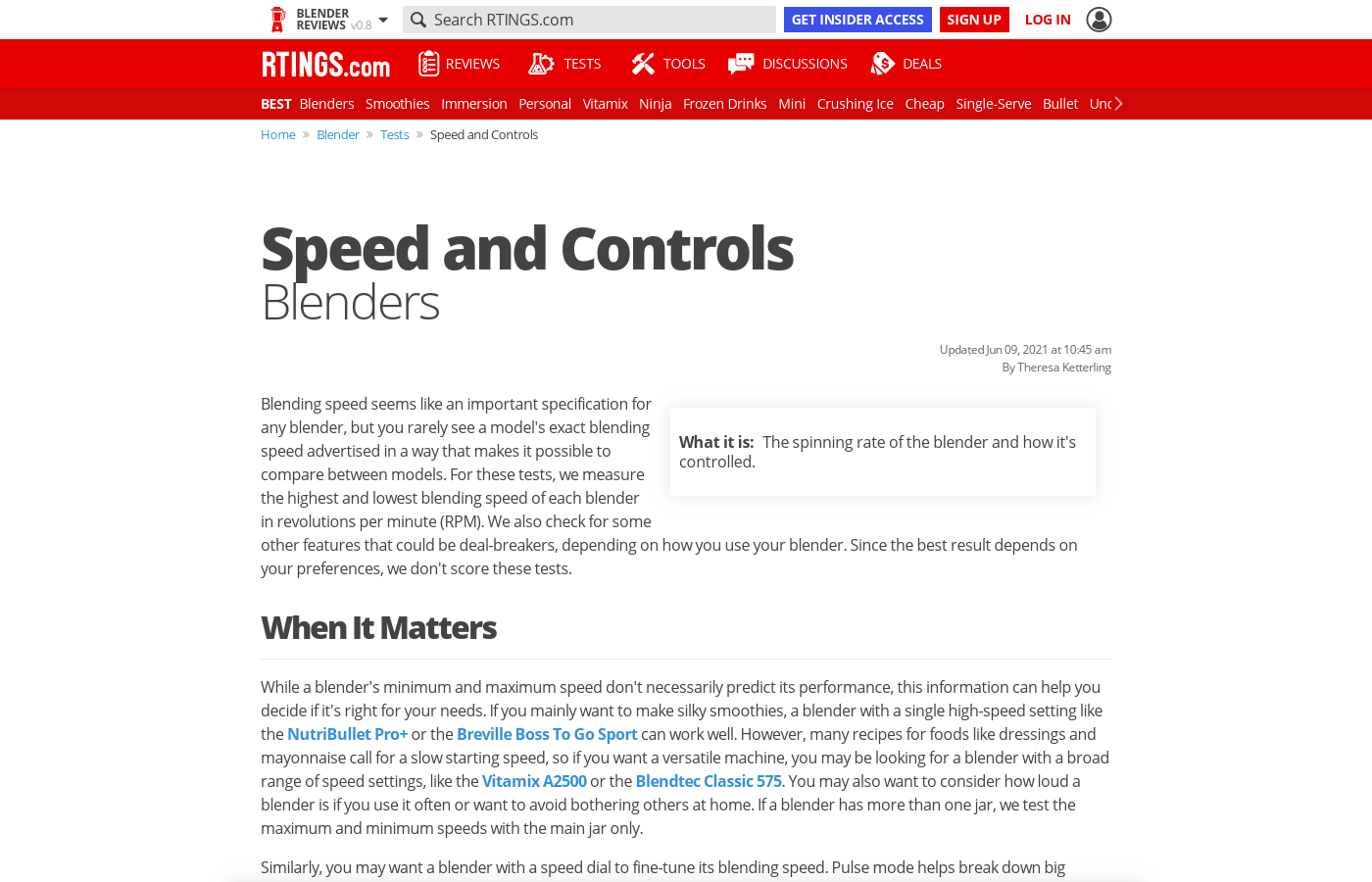 Test Article: Speed and Controls