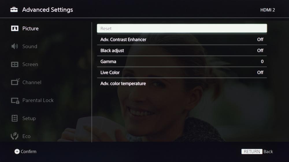 Sony X720E Calibration Settings 15