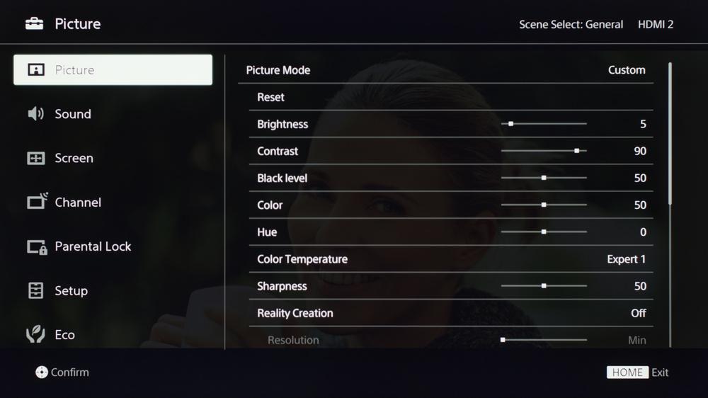 Sony X720E Calibration Settings 6