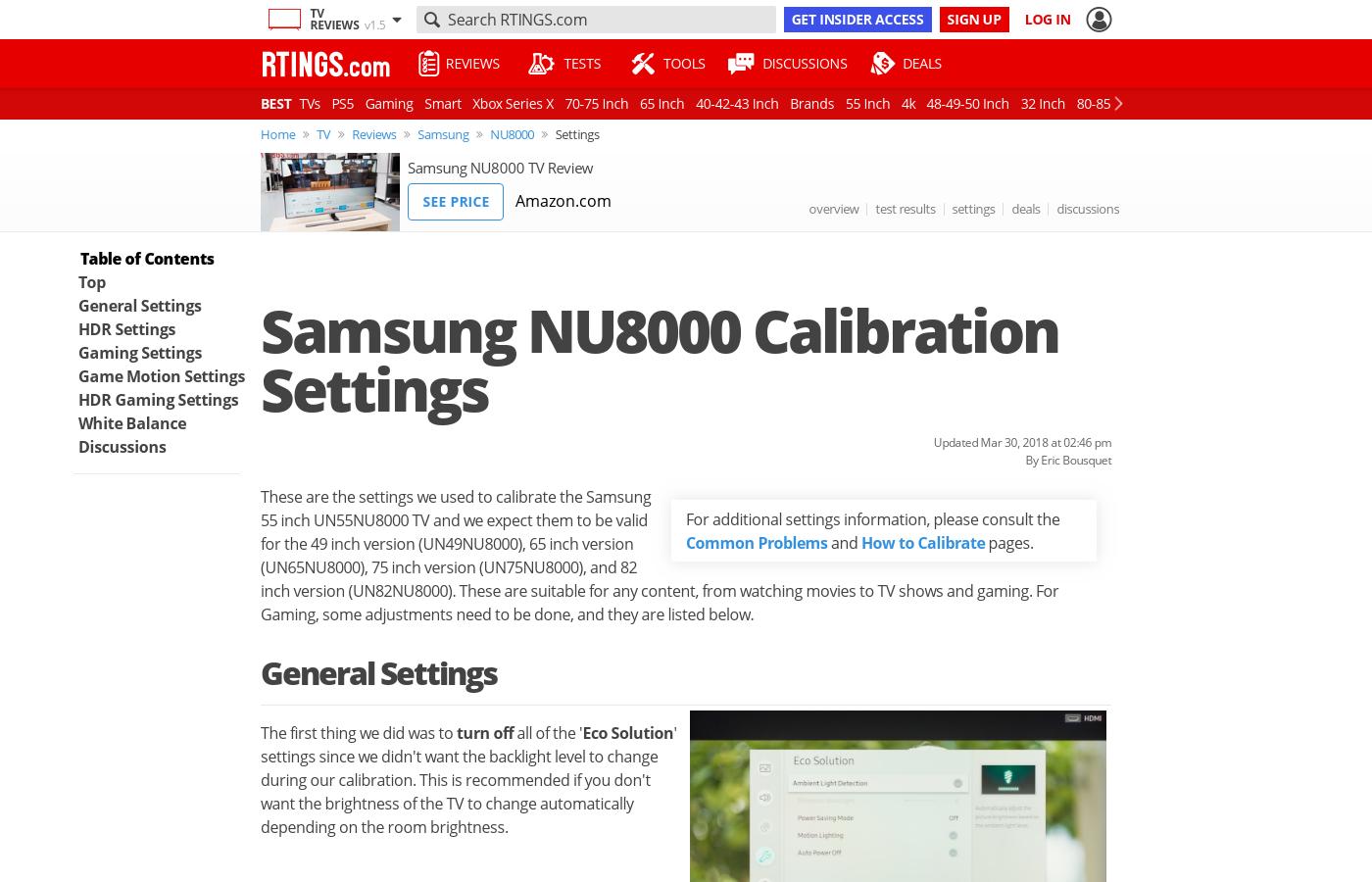 Samsung NU8000 Calibration Settings - RTINGS com