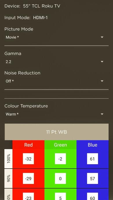 TCL 6 Series/R635 2020 QLED Calibration Settings 123