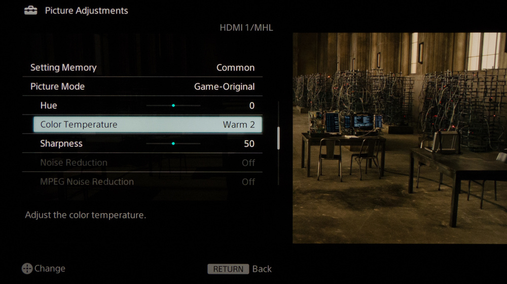 Sony W600B Calibration Settings 3
