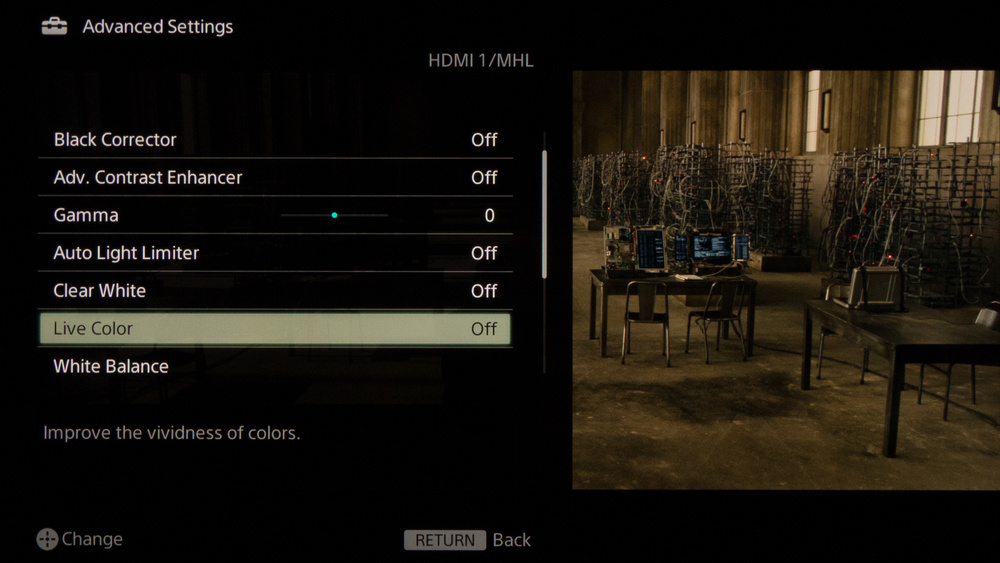 Sony W600B Calibration Settings 5