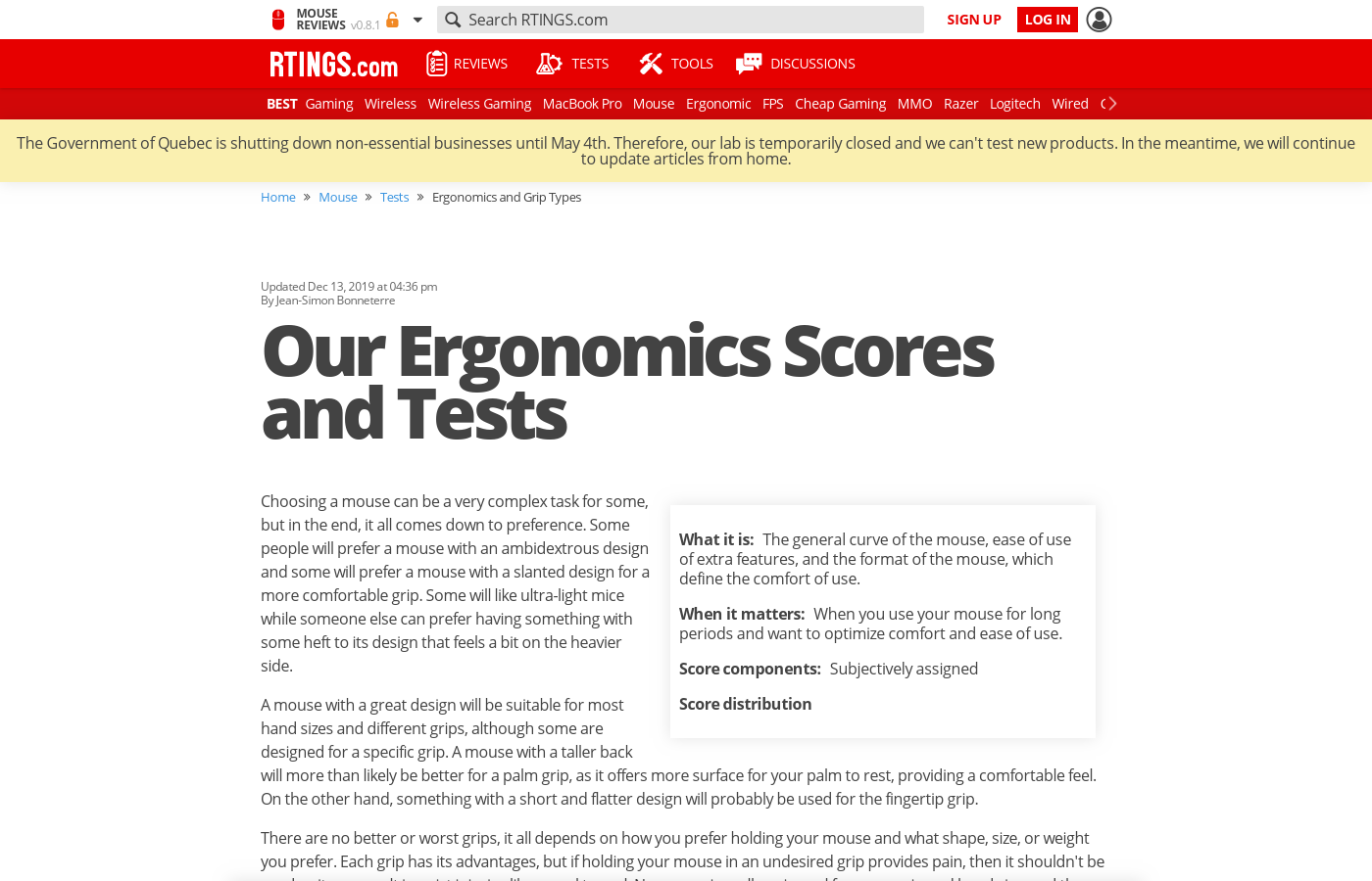 Our Ergonomics Scores and Tests