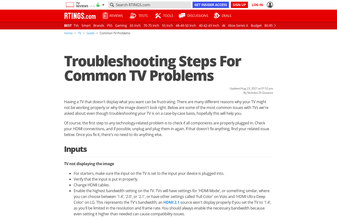 Troubleshooting steps for common TV problems - RTINGS com