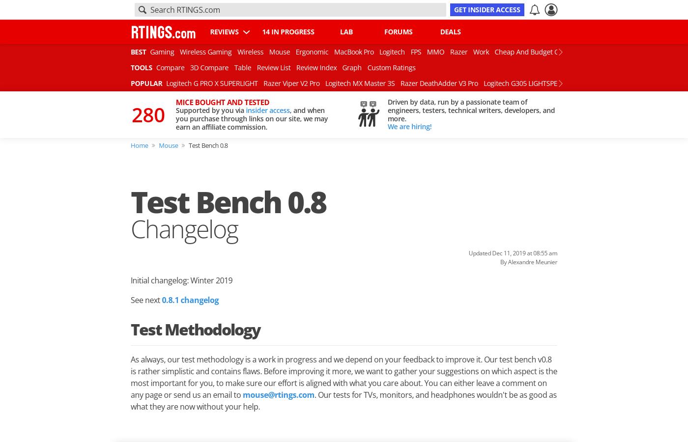 Test bench 0.8: Changelog