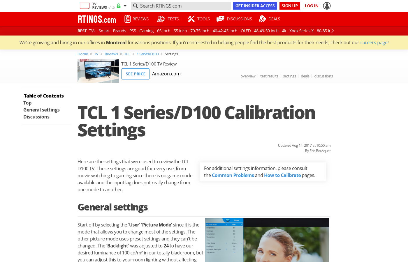 TCL D100 Calibration Settings - RTINGS com