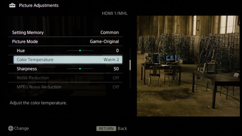 Sony W850B Calibration Settings 3