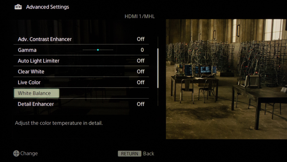 Sony W850B Calibration Settings 5