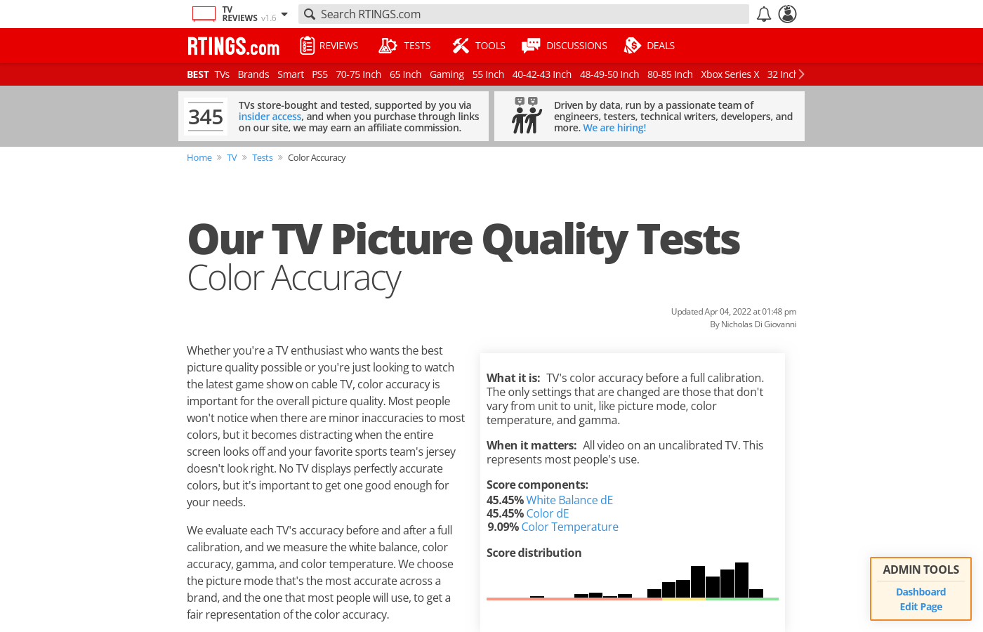 Color Accuracy of TVs - RTINGS com
