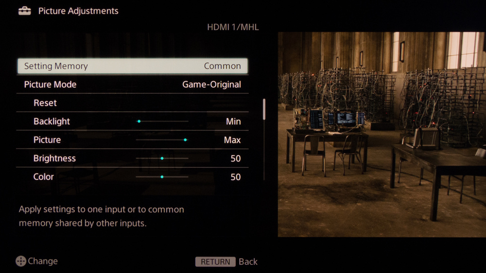 Sony W950B Calibration Settings 2