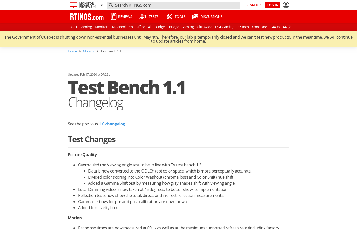 Test Bench 1.1: Changelog