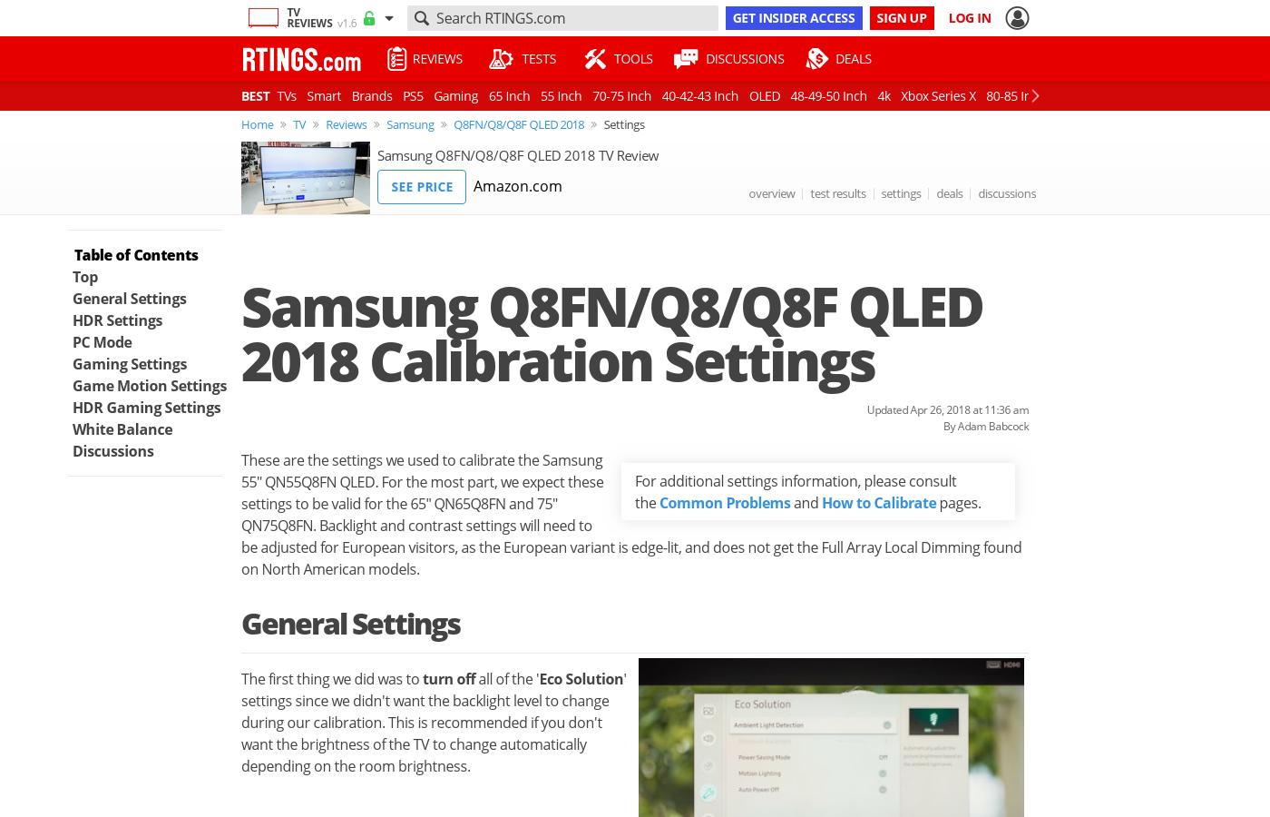 Samsung Q8FN/Q8/Q8F QLED 2018 Calibration Settings - RTINGS com
